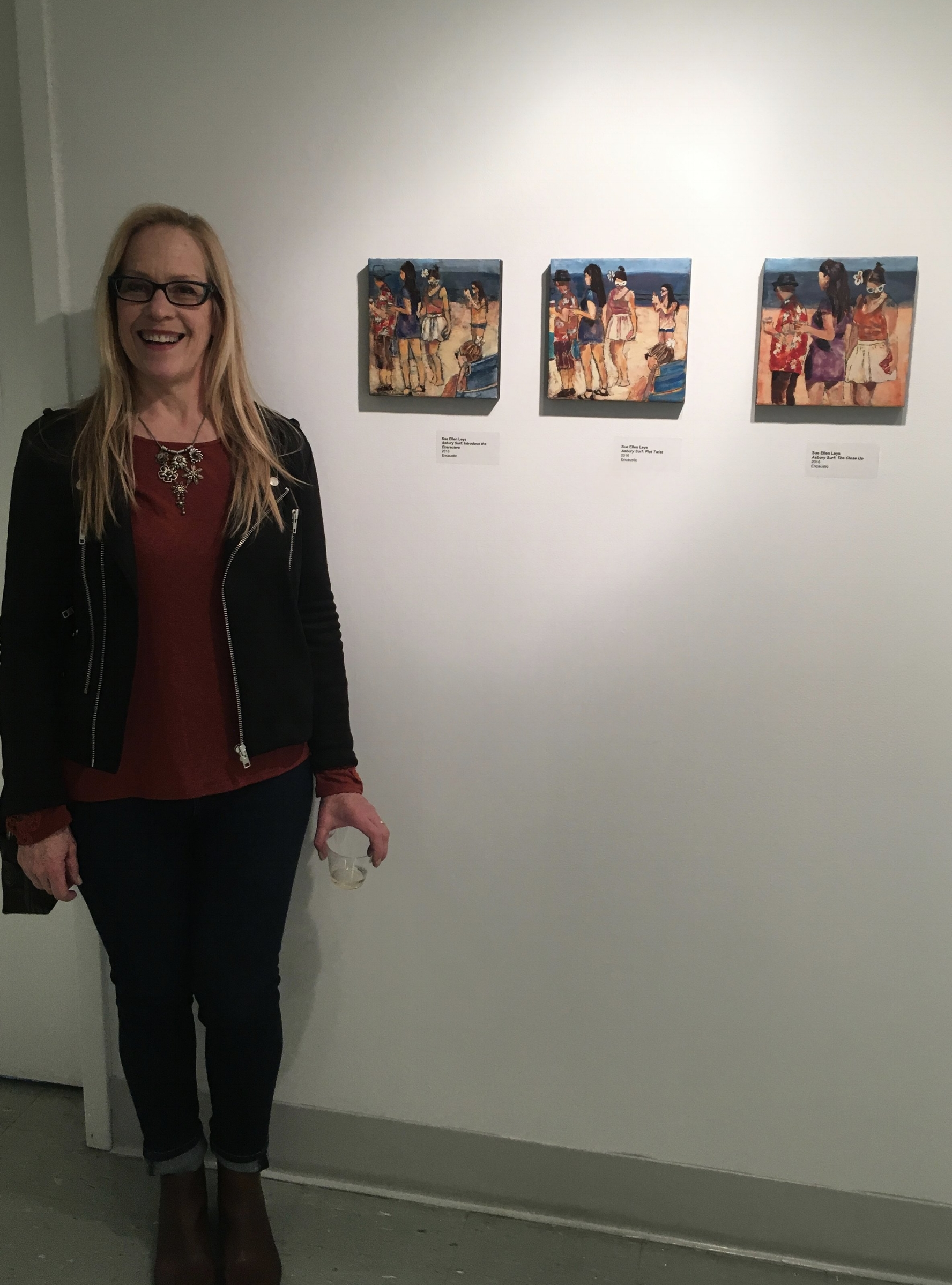 The artist with her 3 encaustics at the VACNJ reception.