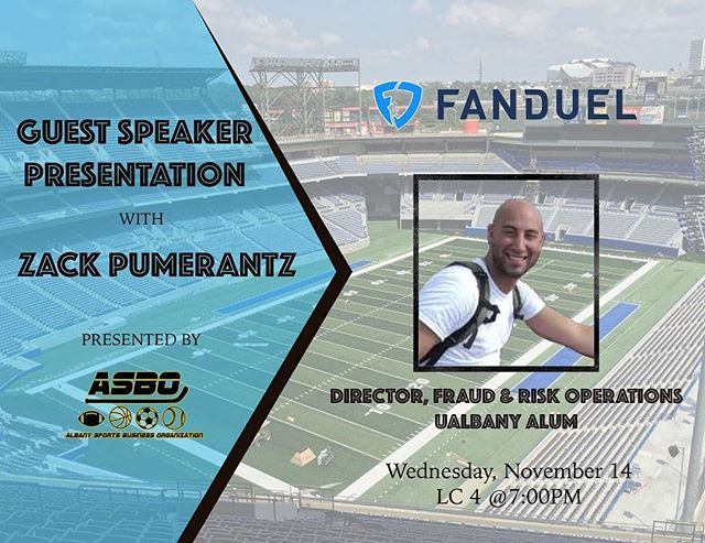 Tonight at 7 in LC 4!!! Make sure to dress BUSINESS CASUAL. This is going to be a good one!  #ualbany #fanduel #sportsbusiness #studentinvolvement