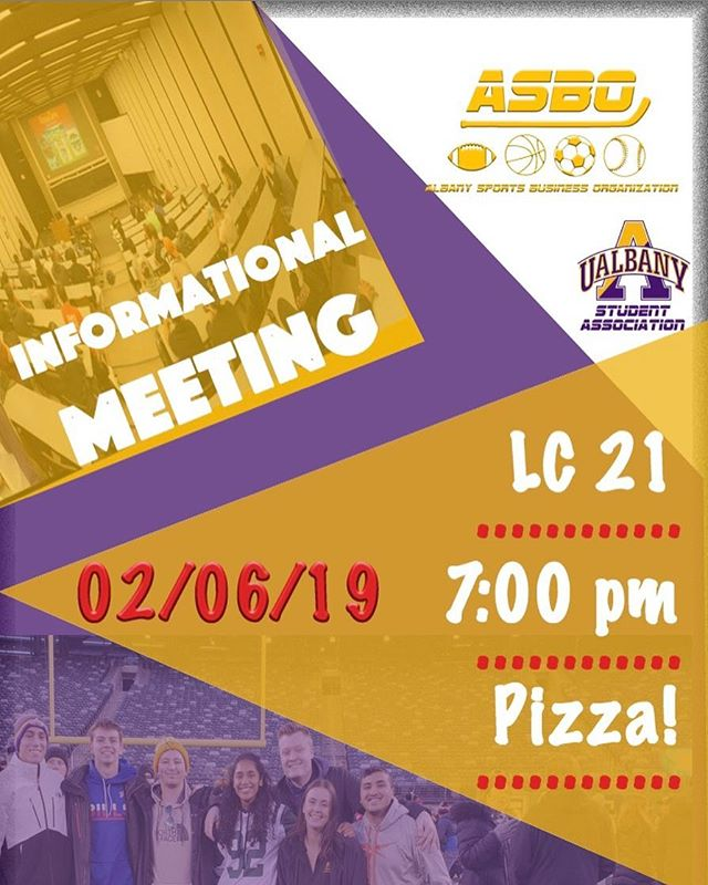 It's about that time again!! Join us tomorrow in LC 21 at 7pm for our Spring Informational Meeting. 🌸We have some fun things planned for you all this semester! 😉 #sportsbusiness #studentinvolvement #ualbany