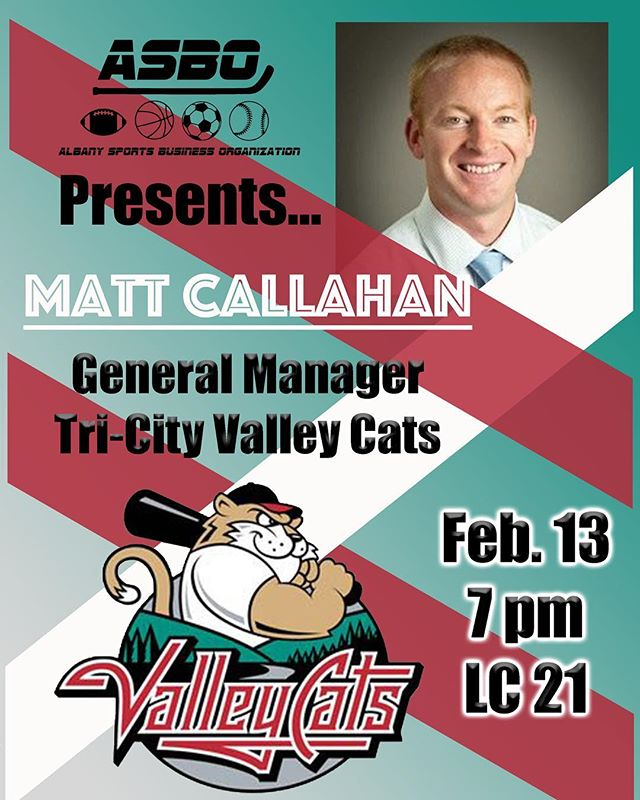 Join us tomorrow at 7pm in LC 21 for our very first speaker of the semester‼️ Matt Callahan of the Tri-City Valley Cats is going to talk about his career as a general manager. ⚾️ Don't miss it! #sportsbusiness #baseball