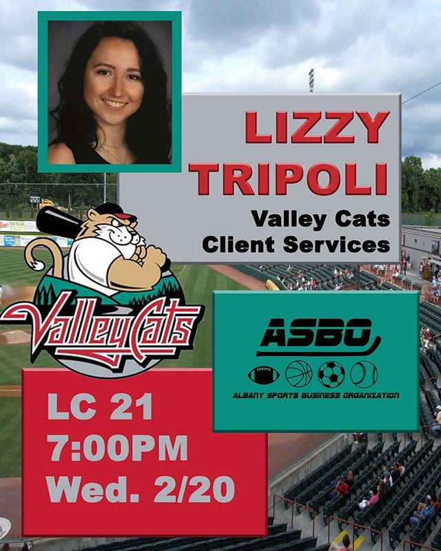 TOMORROW: Lizzy Tripoli of the Tri-City Valley Cats will be telling us about her work experiences.🗣 Same time, same place... See you there‼️⚾️ #minorleaguebaseball #sports #sportsbusiness