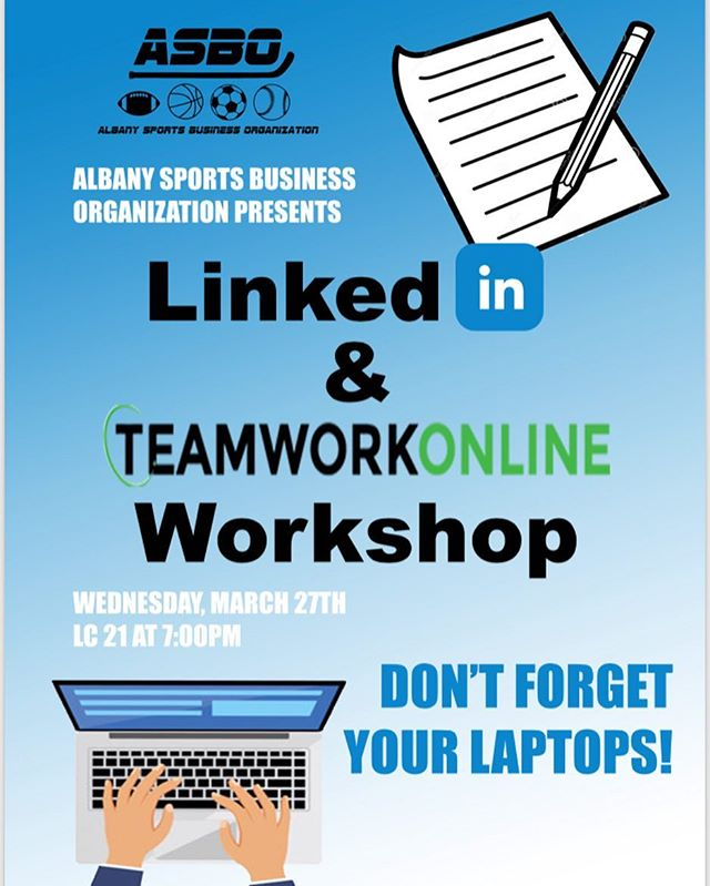 Welcome back from Spring Break‼️ Now it's time to get back to business.💼 To kick things off, we will be holding a LinkedIn/TeamworkOnline workshop. 💻 So make sure you bring your laptops today! #sportsbusiness #ualbany