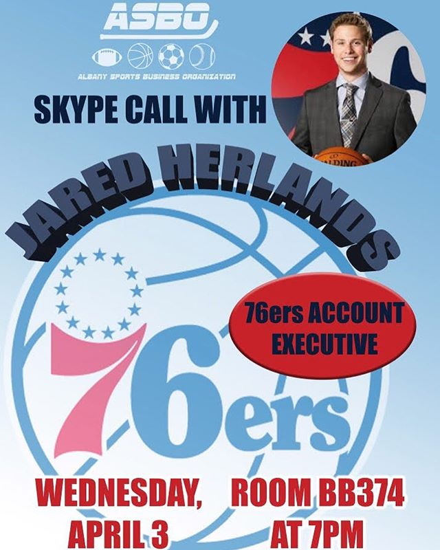TONIGHT‼️ We're in room BB374 for a Skype call with Jared Herlands, Account Executive of the 76ers 🏀 Don't miss it! #sportsbusiness #ualbany #nba