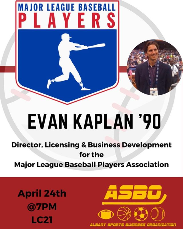 Join us tomorrow night at 7PM in LC21 as we welcome special guest Evan Kaplan '90 of the Major League Baseball Players Association! ⚾️ #sportsbusiness