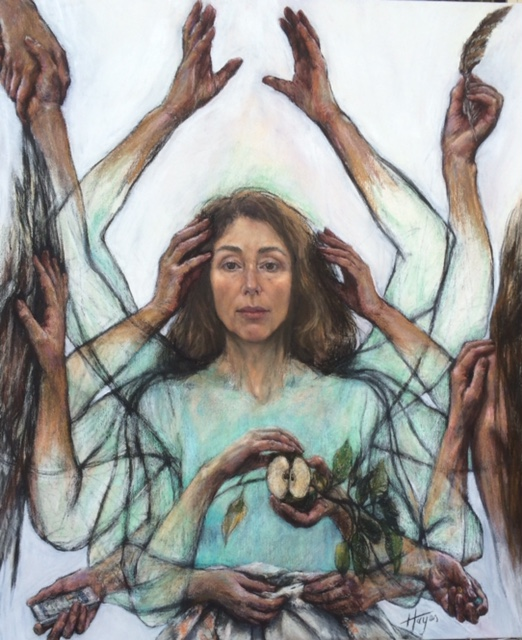 Self Portrait with Hands, By Janet Hayes.jpg