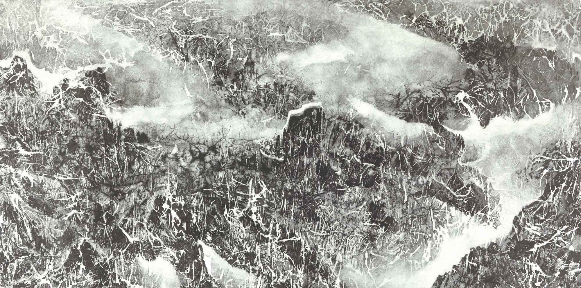 劉國松 LIU Kuo-Sung〈雲樹銀枝 Silvery Woods amidst Cloudy Mountains〉