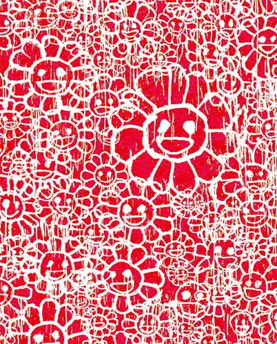 村上隆 Takashi Murakami〈Madsaki Flowers C Red〉