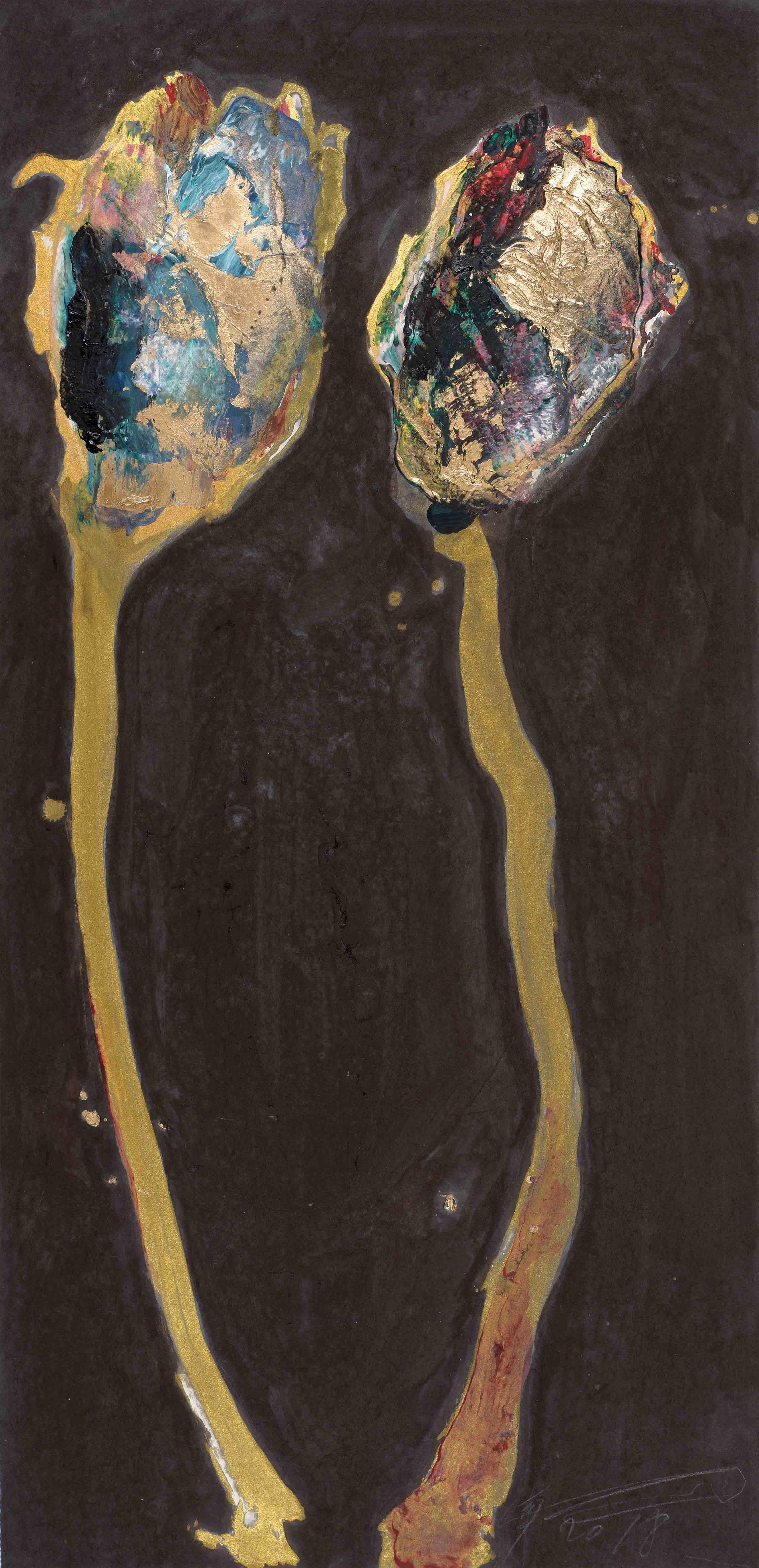 魏立剛 WEI Ligang〈雙花圖–棕 Double Flowers: Brown〉