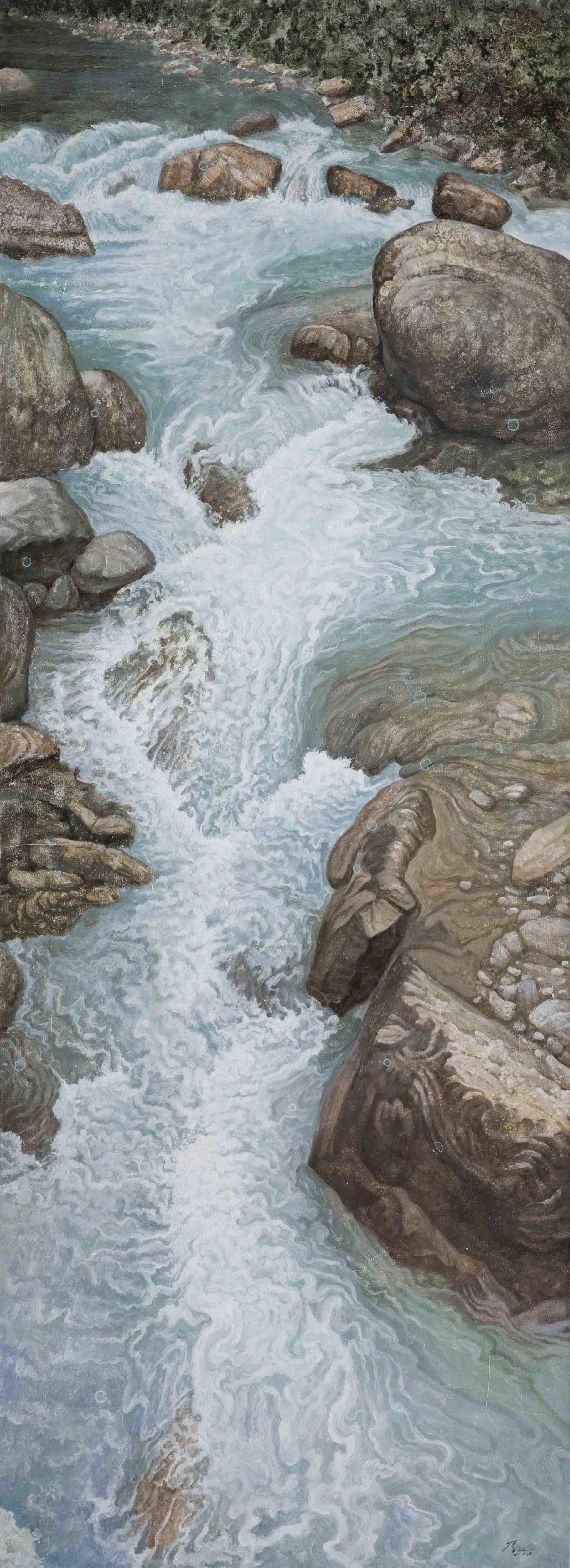 侯俊杰_HOU_Junjie|上善若水·觀瀾_NO.2__The_Supreme_Good_is_Like_Water-Observing_Ripples_NO.2|2017|布面油畫_Oil_on_Canvas|220x80cm.jpg