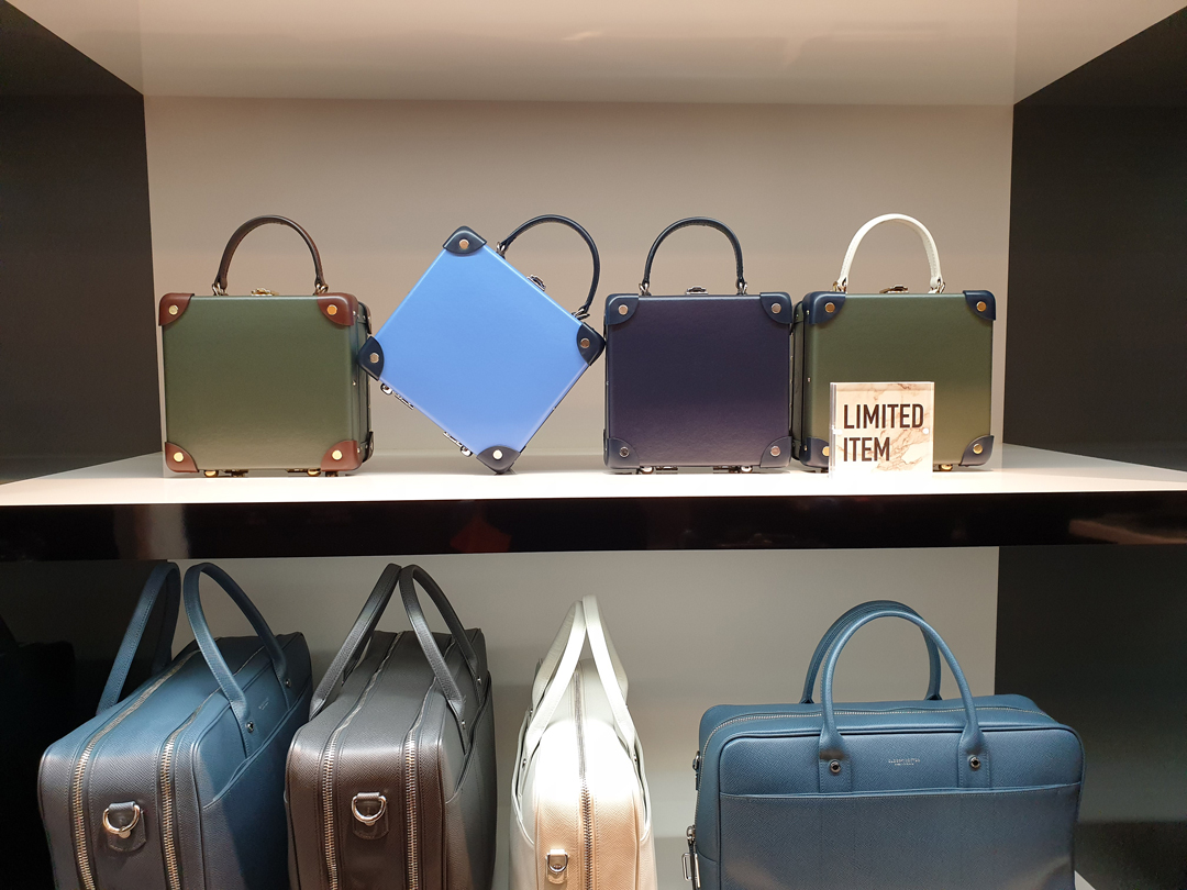 Classic simple displays in  Globe Trotter  of the Centenary collection 'London Square' case. Hand luggage sized vintage inspired cases that you can carry with you.