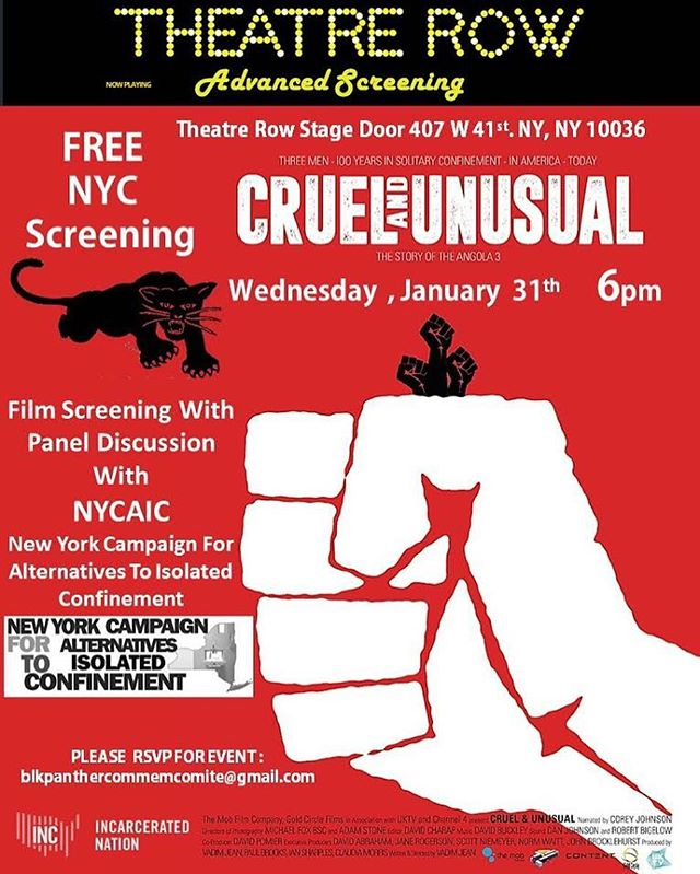 TONIGHT! Free NYC screening of CRUEL AND UNUSUAL beginning at 6p. RSVP NOW!