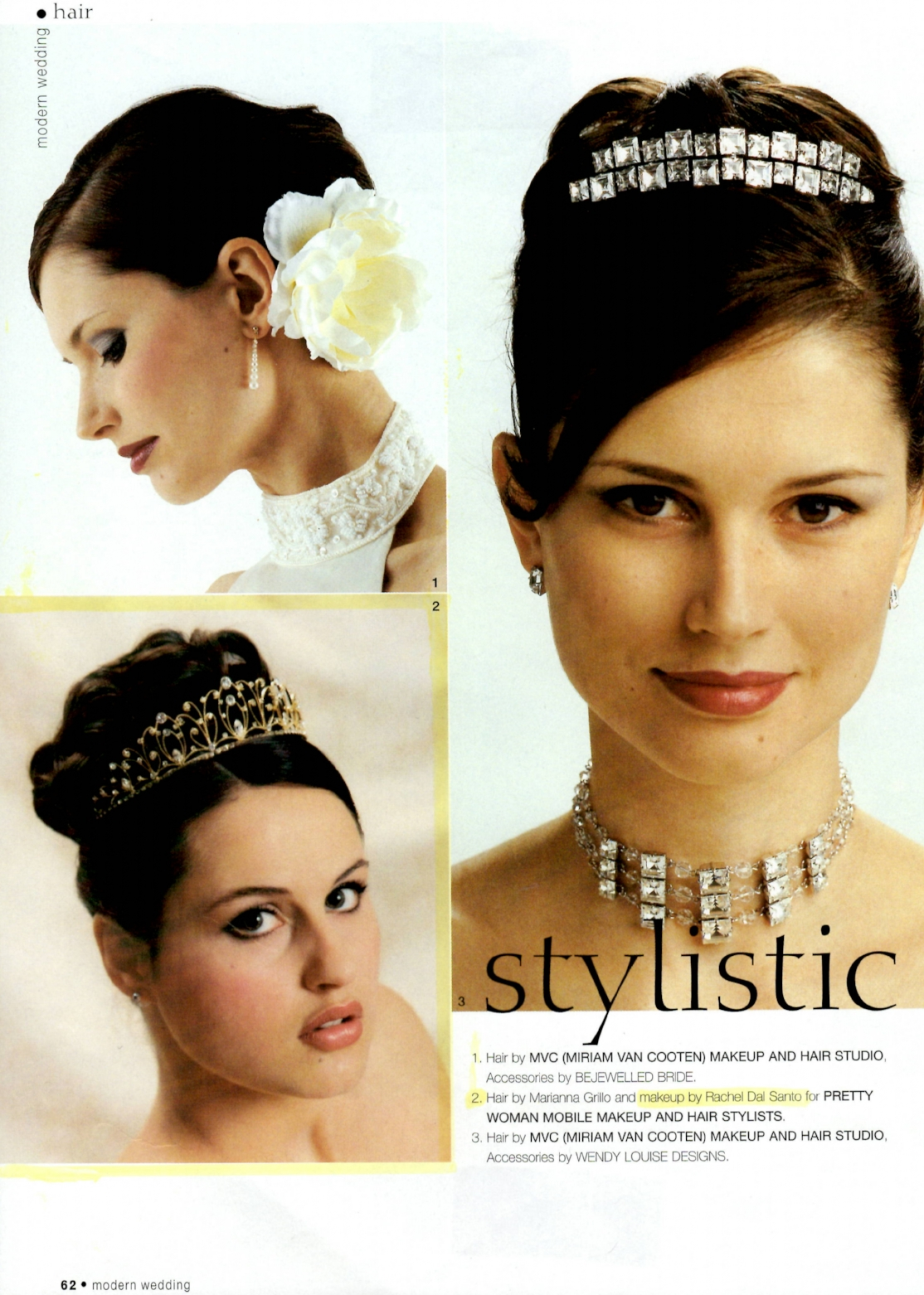 1994 | Modern Wedding Magazine advertisment. Bottom left model features MU by Rachel