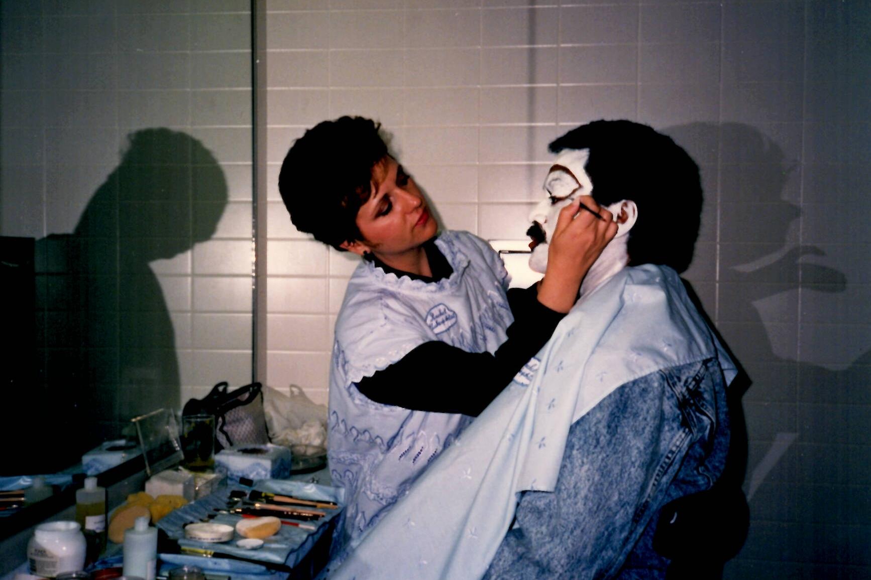 1985 | Rachel creating a clown character