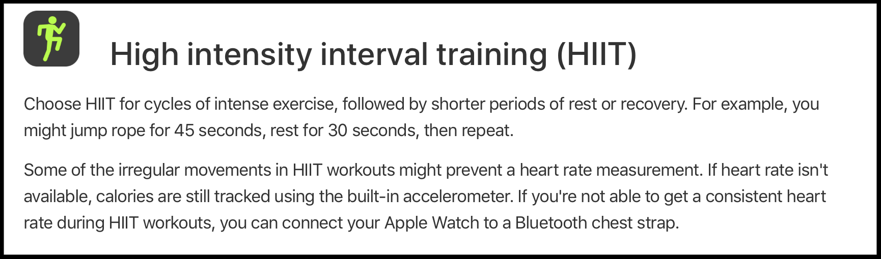 How Apple describes HIIT workouts