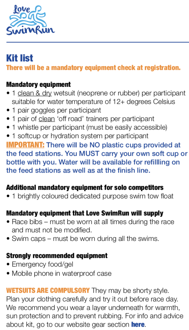 Kit list from the organisers of SwimRun Holy Island