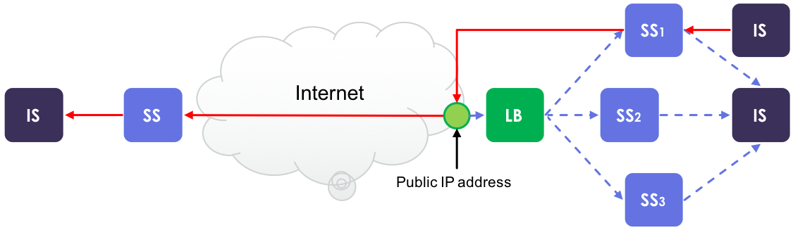 Image 6. When a clustered Security Server acts as a client and makes a request to an external server, the external server sees the public IP address.