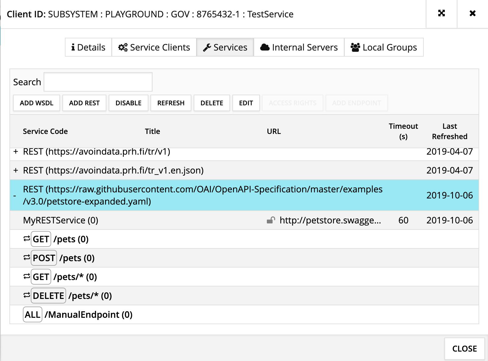 Image 2. List endpoints of a REST API.
