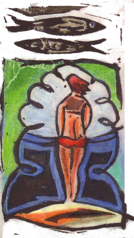 Illustration, kolorierter Linolschnitt