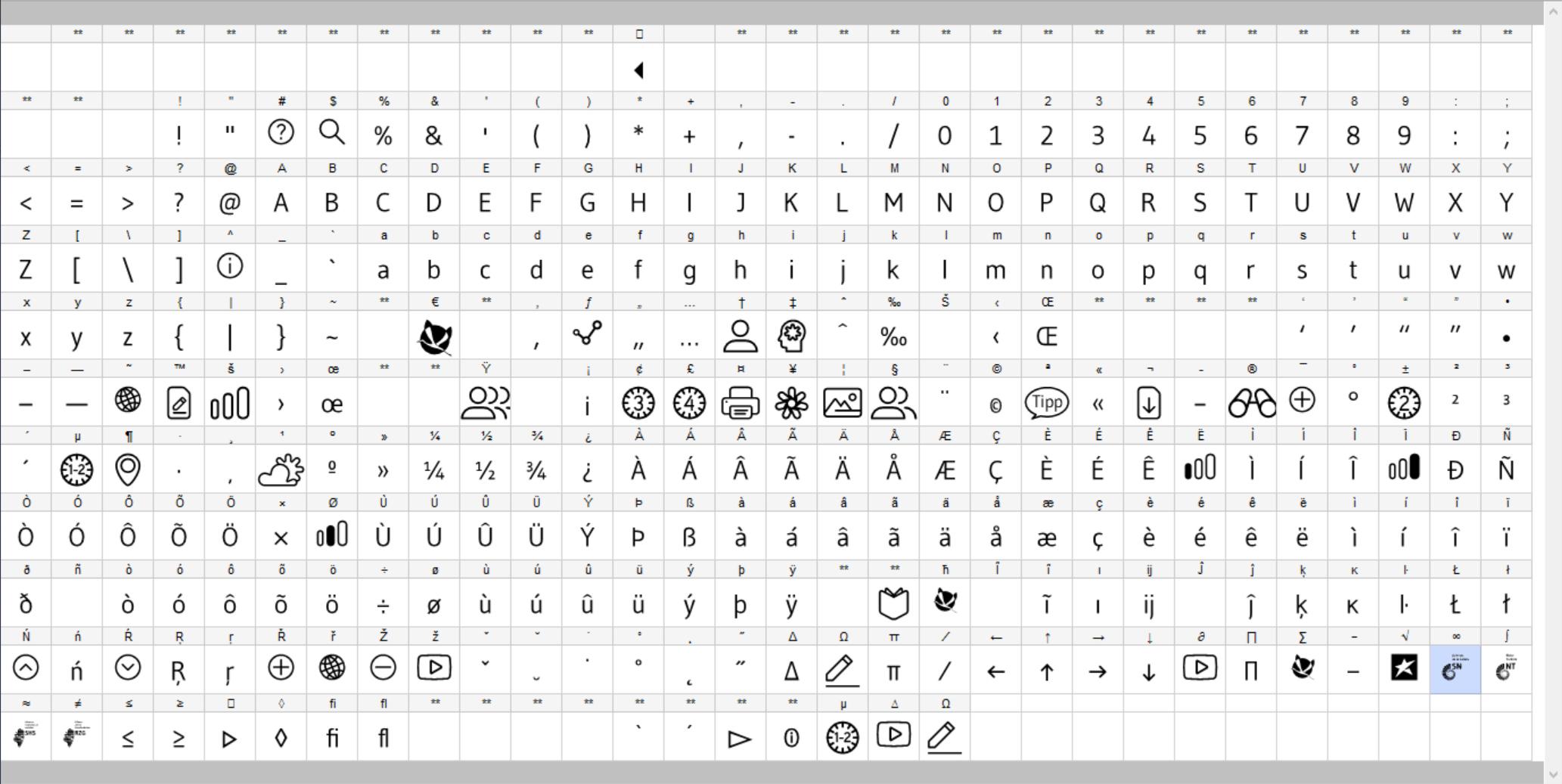 Symbole als Schriftzeichen l TrueType Font