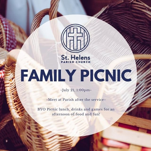 Get out your picnic baskets, the Parish Church Family are having a picnic this Sunday after the 10:45am service. Grab your picnic rugs, some food to share, any outdoor games you've got and join us. We'll meet after the service and go together for a lovely lunch out in the sun!