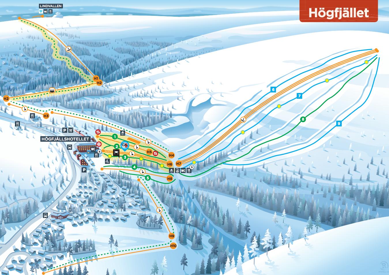 Download Skistars Högfjället piste map as pdf