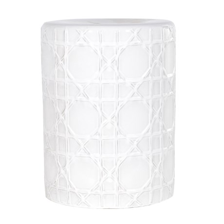 White Cross Pattern Stool - Dia 34 x H 45cmRRP €160For enquiries please call us today on +353 1 4534742 or email info@interiorsatelier.ie