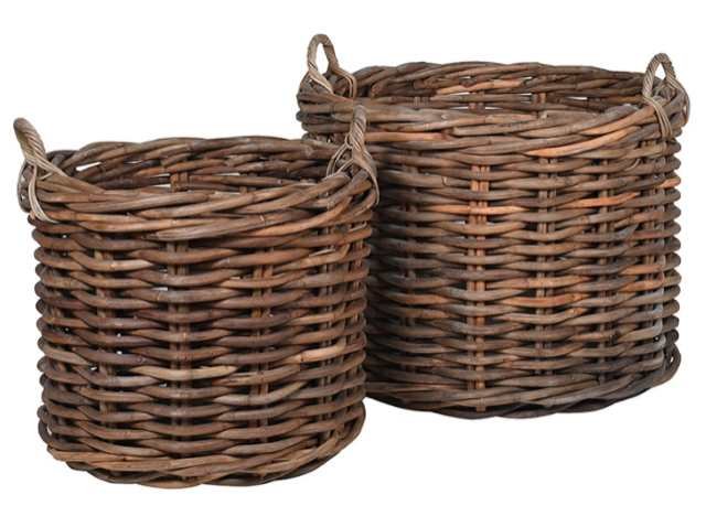 Two Rattan Baskets - Large Basket H:650 Dia:860Small Basket H:530 Dia:650Set RRP €470For enquiries please call us today on +353 1 4534742 or email info@interiorsatelier.ie