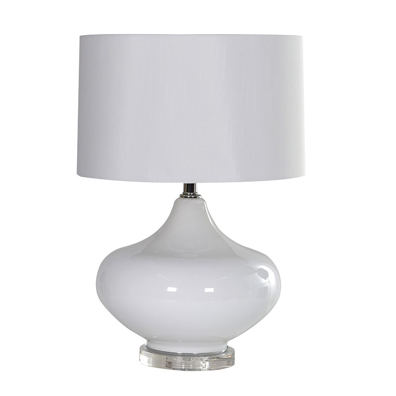 Fara Lamp - Round white lamp with shadeRRP €580For enquiries please call us today on +353 1 4534742 or email info@interiorsatelier.ie