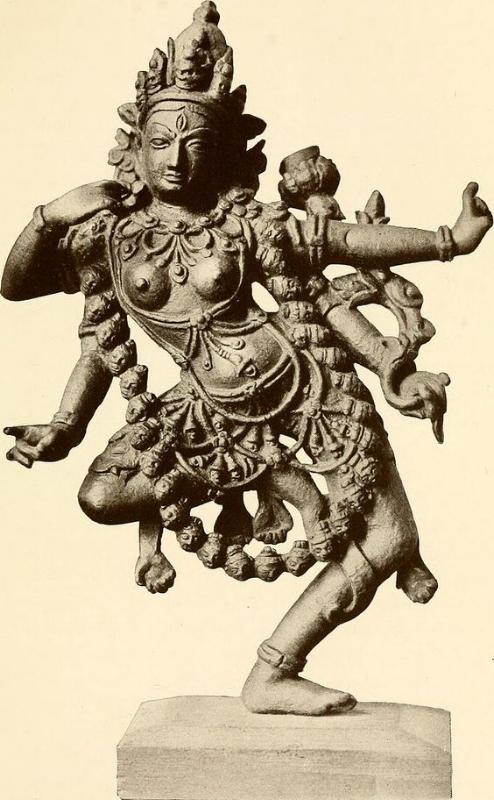 Hindu Goddess Kali, from a bronze in the Calcutta Art Gallery. Image date: ca. 1913.