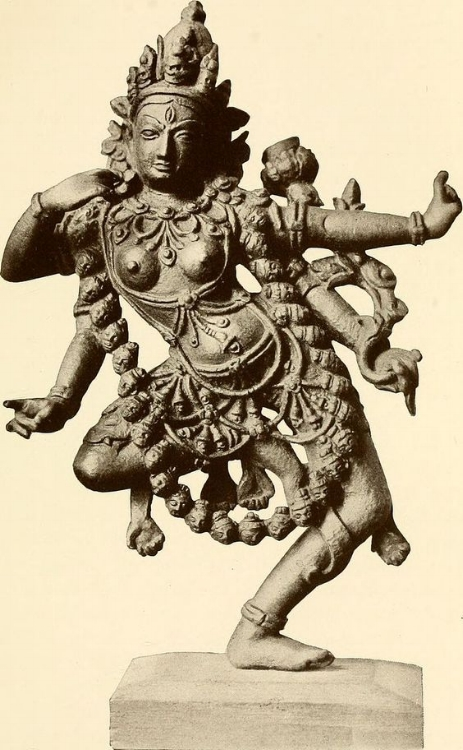 Hindu Goddess Kali, from a bronze in the Calcutta Art Gallery. Image date: ca. 1913.