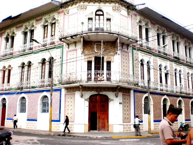 French style building in the heart of Iquitos, a Peruvian Amazonian town that is accessible by boat or plane only.