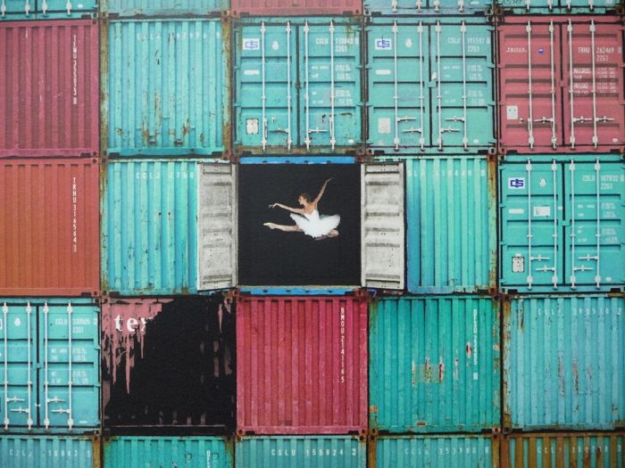 JR - The ballerina jumping in containers, Le Havre, 2014