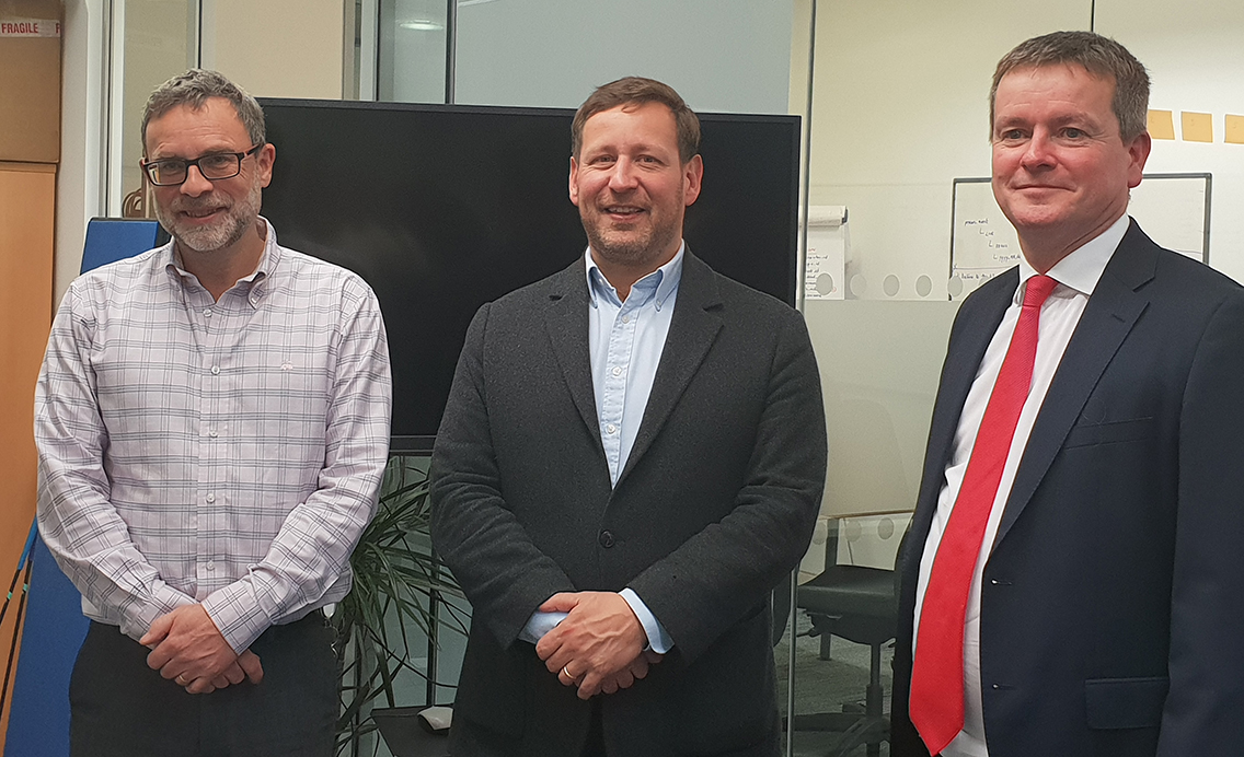 Fig 1:  Adrian Black, CEO at NorthRow (left), Ed Vaizey, Local Conservative MP Didcot and Wantage (centre) and Charles Winward NVM (right).