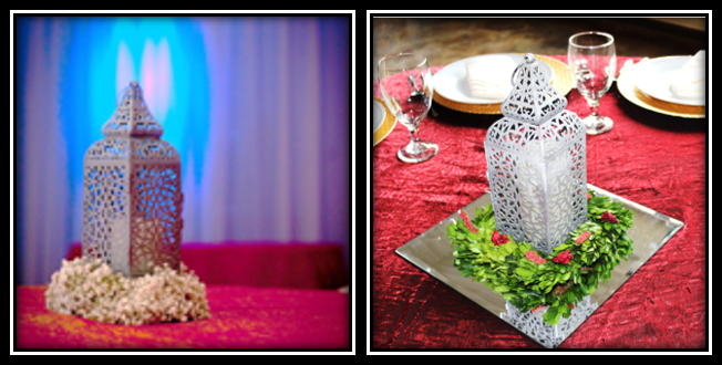 Shown accessorized with fresh baby's breath wreath and preserved boxwood wreath with berries and LED candle.