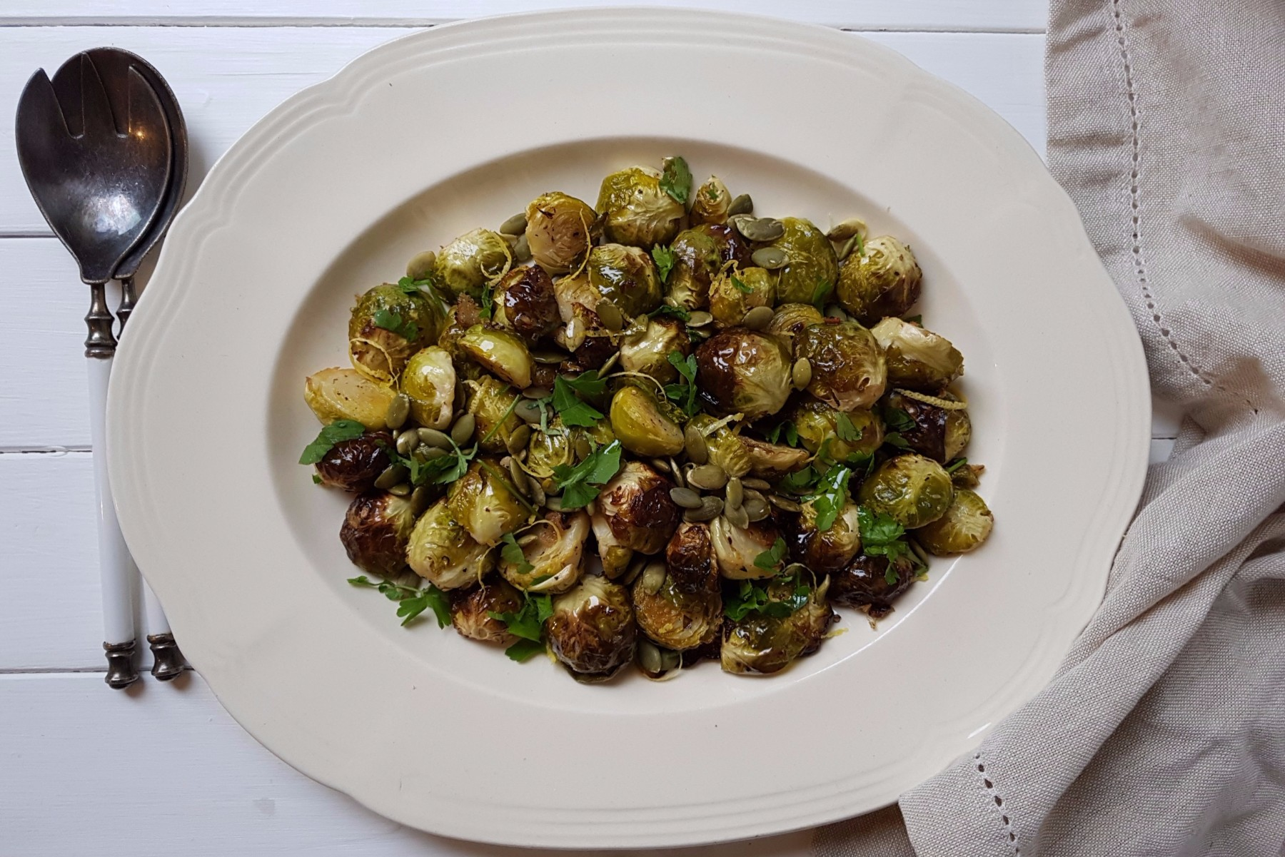 brussels sprouts with pumpkin seeds and lemon