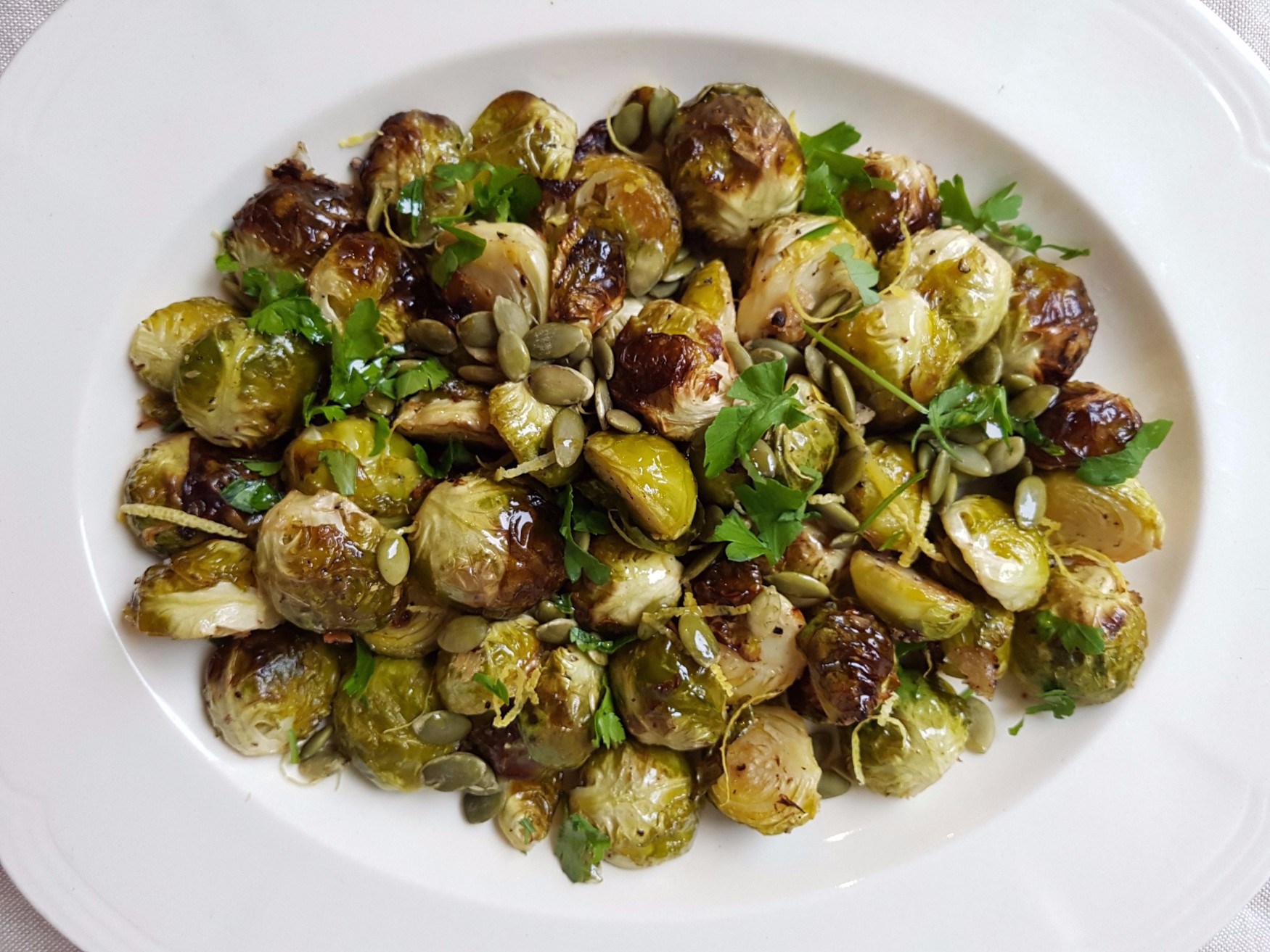 roasted brussels sprouts with pumpkin seeds and lemon