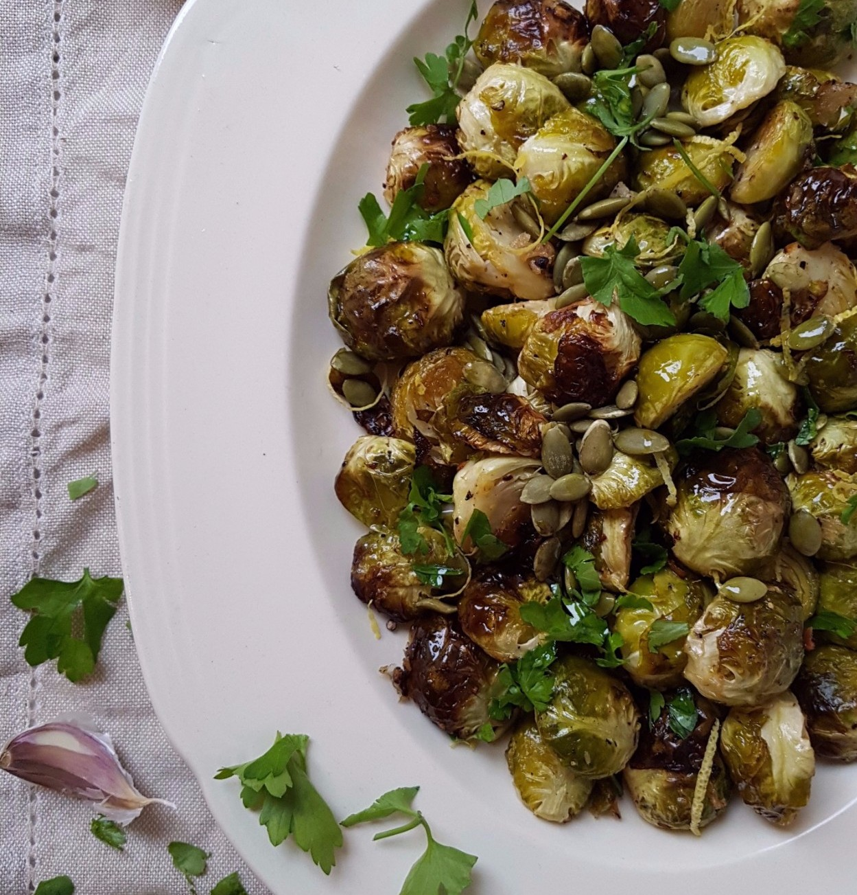 roasted brussels sprouts with pumpkin and lemon