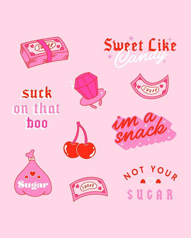 💗🍩🍬Artwork I made for sweet as fuck @sugartitslondon subscription boxes!!! 💕🍭🍧