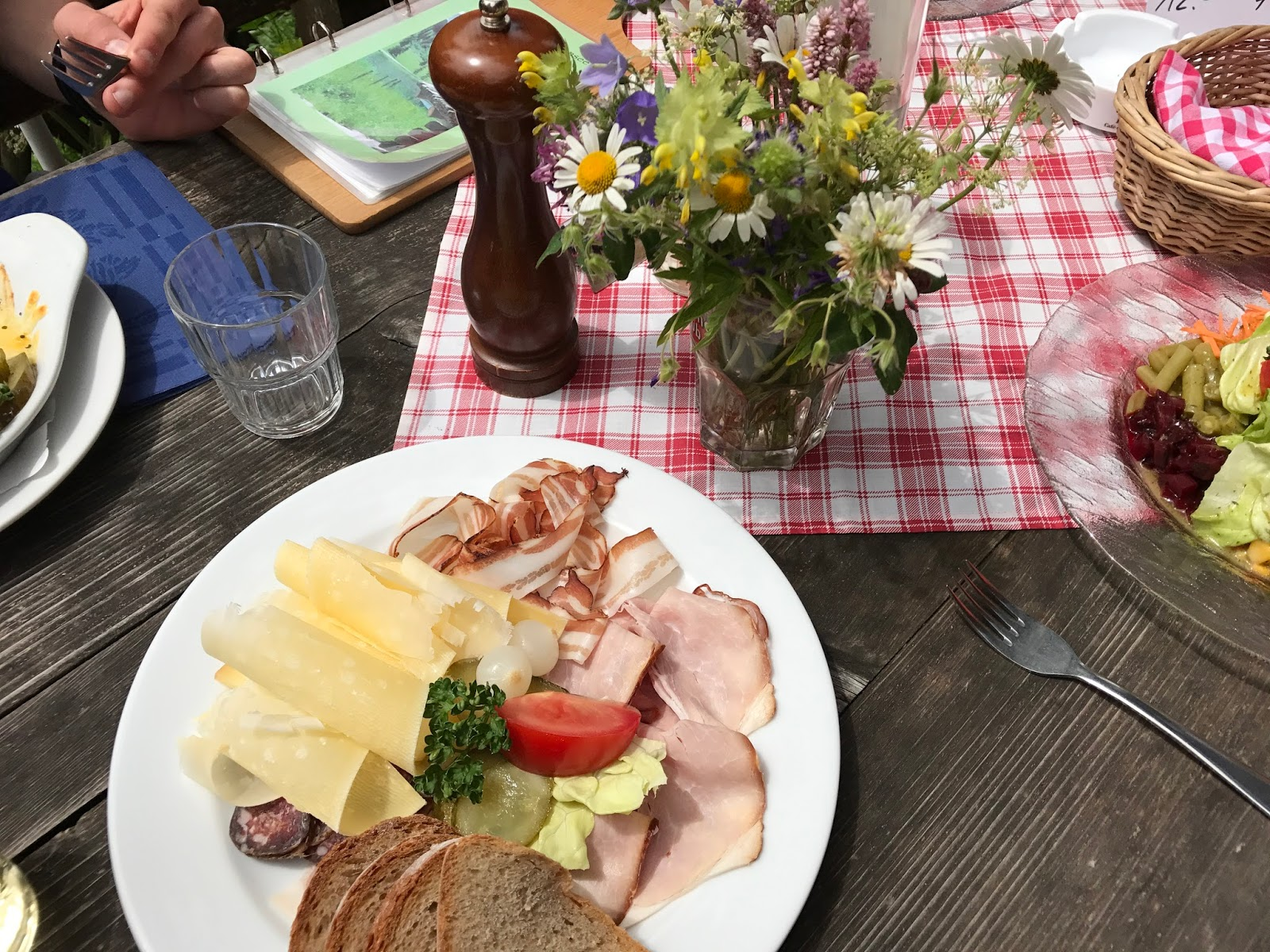 Cycling fare perfecto. Alp cheese, real bread and wafer thin meats