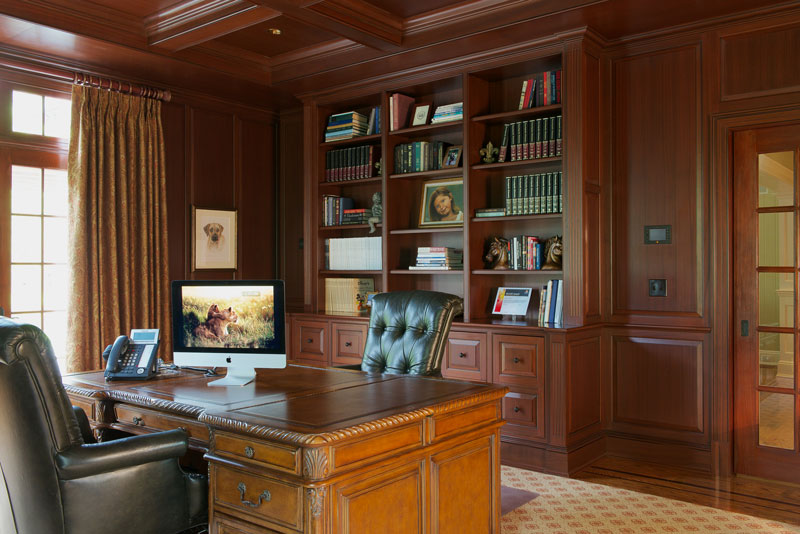 Wood paneled office