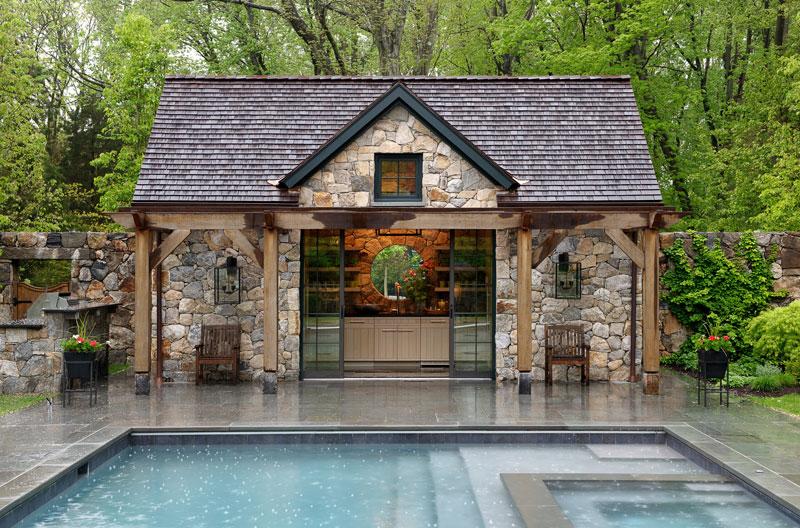 Fieldstone clad pool house