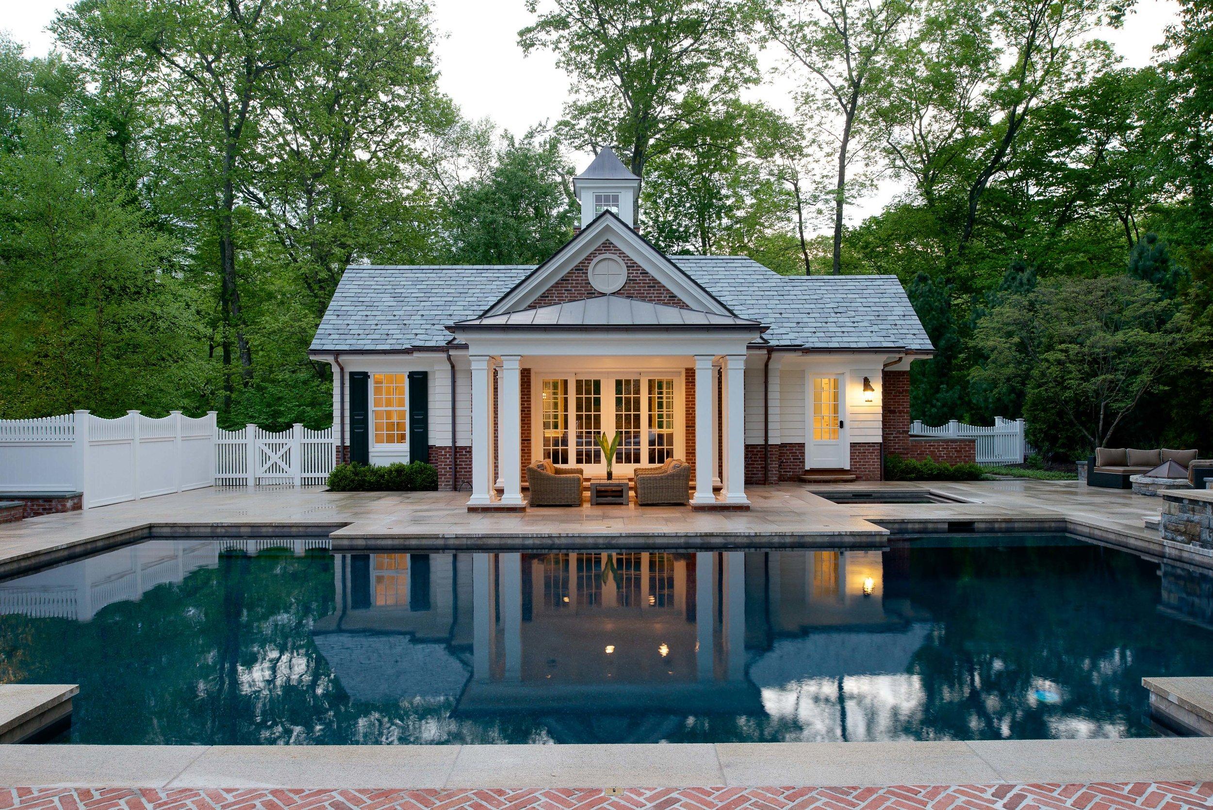 Pool house at dusk