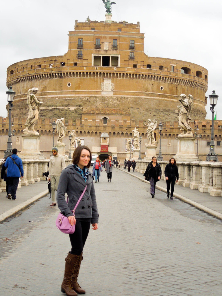Delisa near Castel Sant'Angelo in Rome February 2016 - notice how there aren't any other tourists??