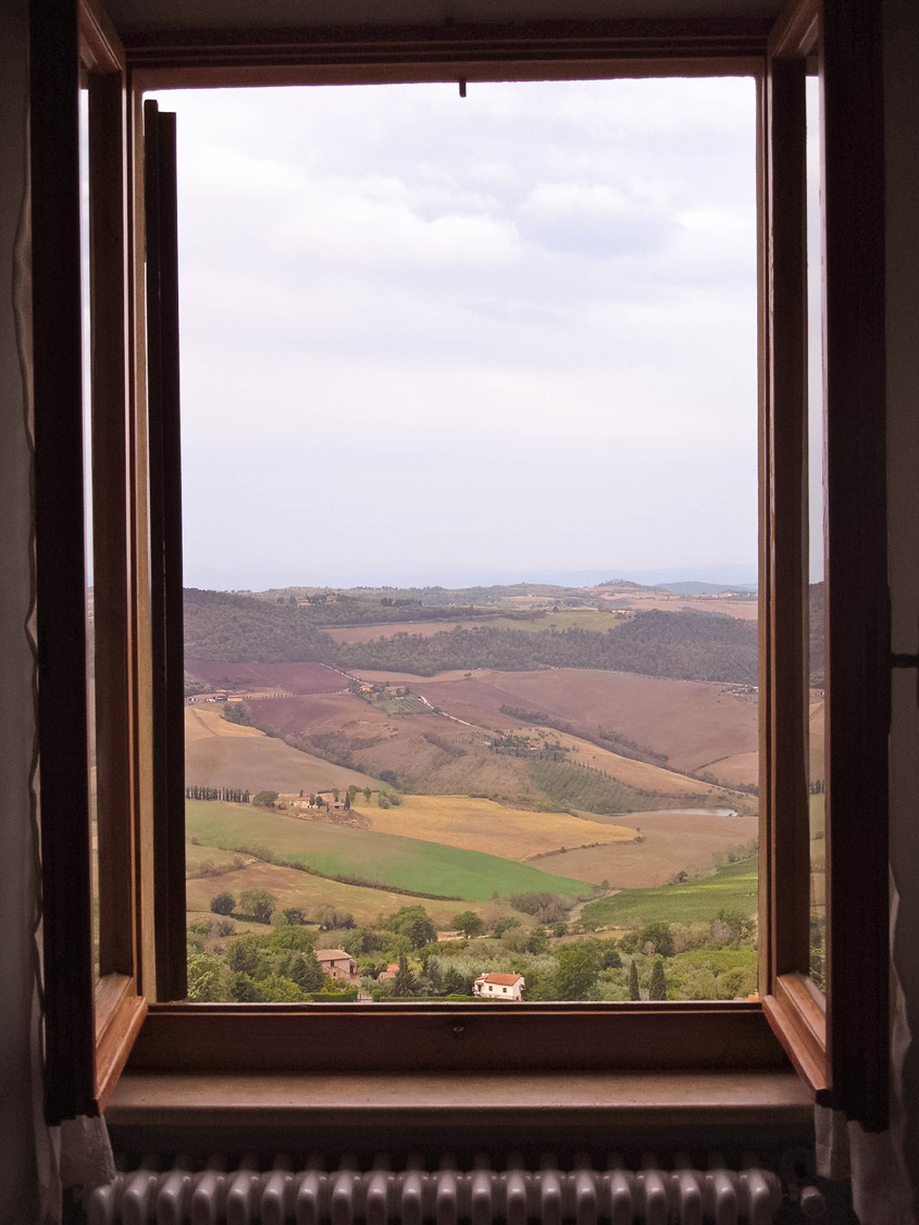 View from our room in Camere Bellavista in Montepulciano