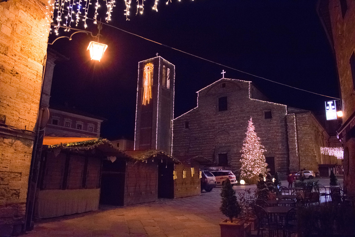 Piazza Grande at night with Christmas market set up