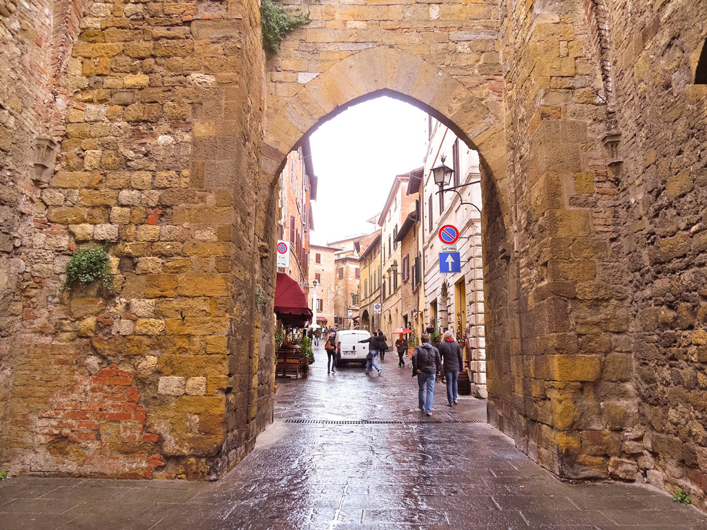 One of the many gates into the town of Montepulciano, Italy