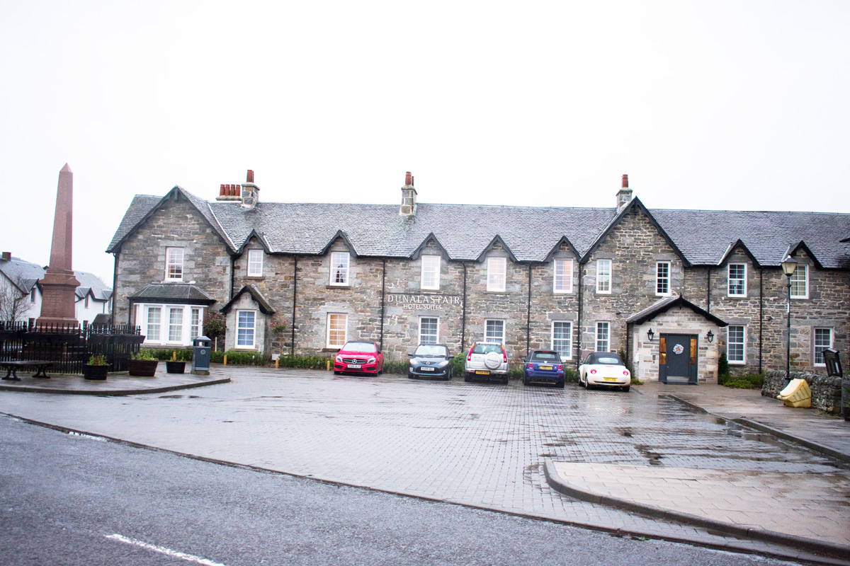 The front of Dunalastair Hotel Suites - located right in the town square