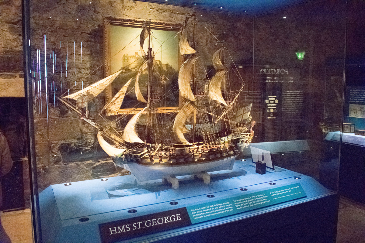 A model of the HMS St. George inside one of the museums in the castle