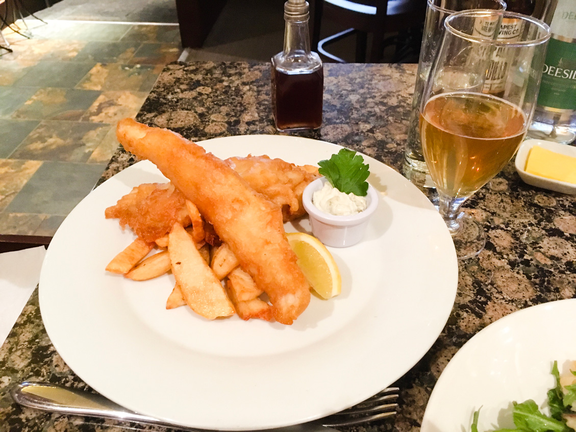 Delicious fish and chips (and beer) at Fishers in the City