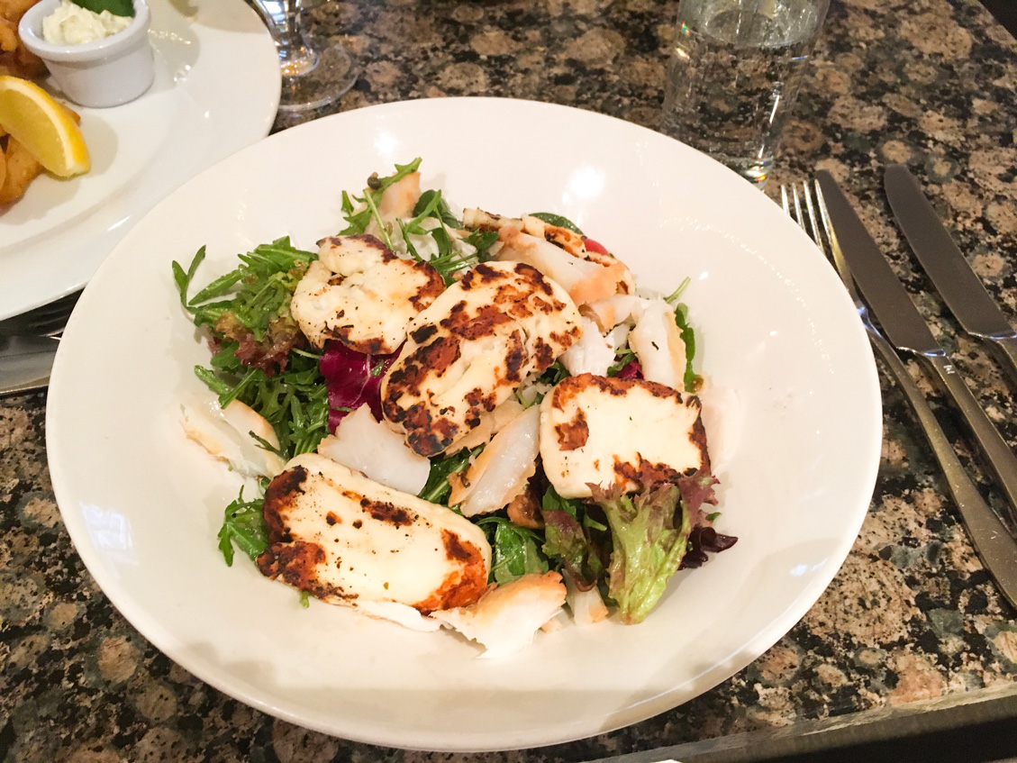 Grilled Halloumi Salad at Fishers in the City -Mixed leaves, marinated figs, cherry tomato, charred halloumi, walnut & caper dressing (plus either smoked duck or hake at additional cost)